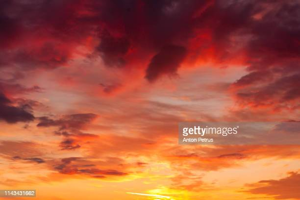 beautiful sunset sky. natural background - dramatic sky stock pictures, royalty-free photos & images