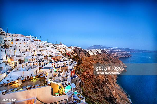 Beautiful Sunset View of Fira, Santorini, Greece