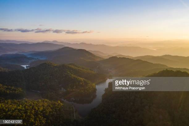 beautiful sunshine at misty morning mountains - south america stock pictures, royalty-free photos & images