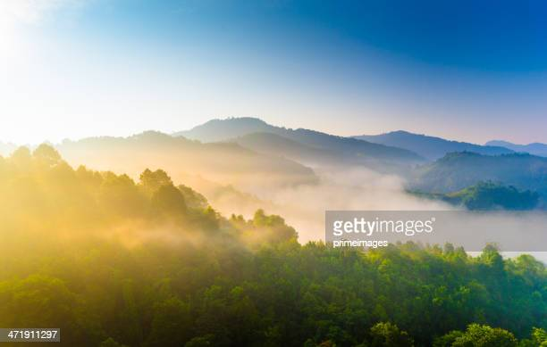 beautiful sunshine at misty morning mountains . - hill stock pictures, royalty-free photos & images