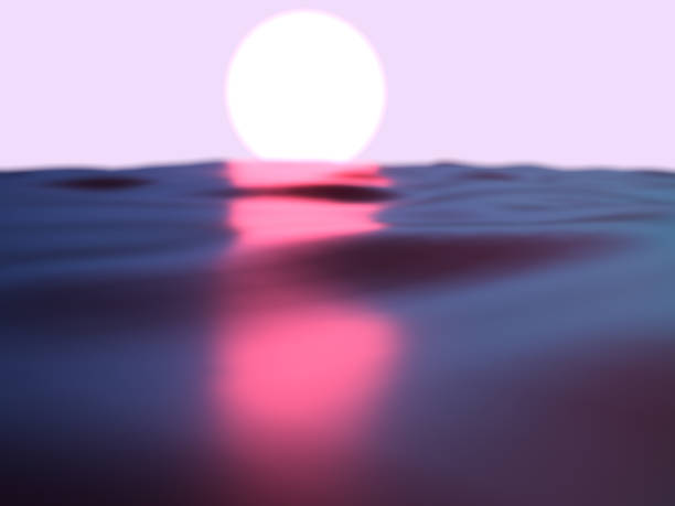 Beautiful surreal sunrise over the sea made with digital computer graphics.