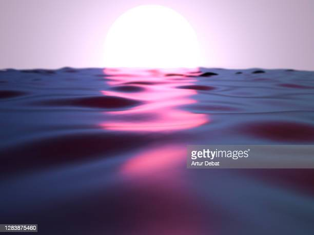 beautiful surreal sunrise over the sea made with digital computer graphics. - spirituality imagens e fotografias de stock