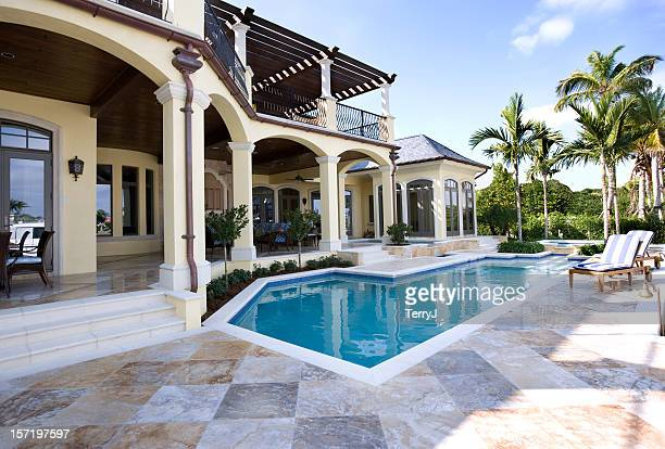 beautiful swimming pool and patio at an estate home