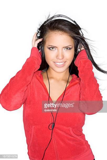 schöne bräune teenager junge frau hören kopfhörer auf weiße - sexy girls stock-fotos und bilder