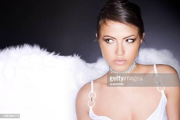 Beautiful Tan Woman in White Lingerie Looking Sideways, Copy Space