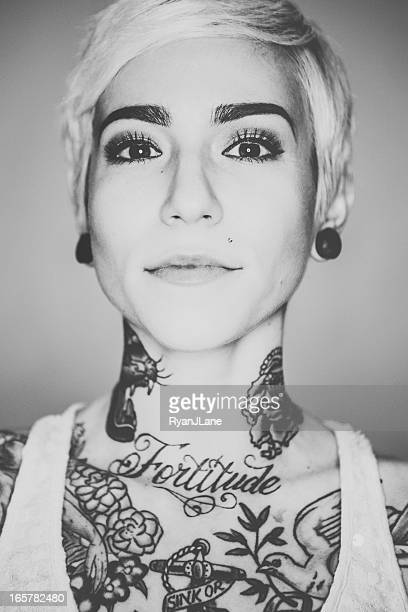 beautiful tattooed woman portrait - piercing stock photos and pictures
