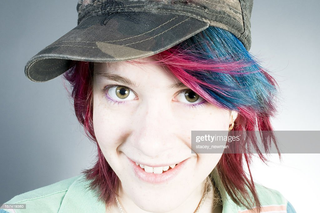 Beautiful Teen Girl Colorful Hair Stock Photo Getty Images