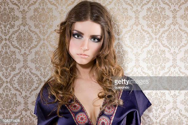 Beautiful Young Woman as Hippie Fashion Model, Copy Space
