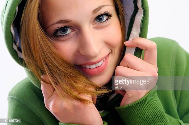 Beautiful Teenage Girl With Green Hood