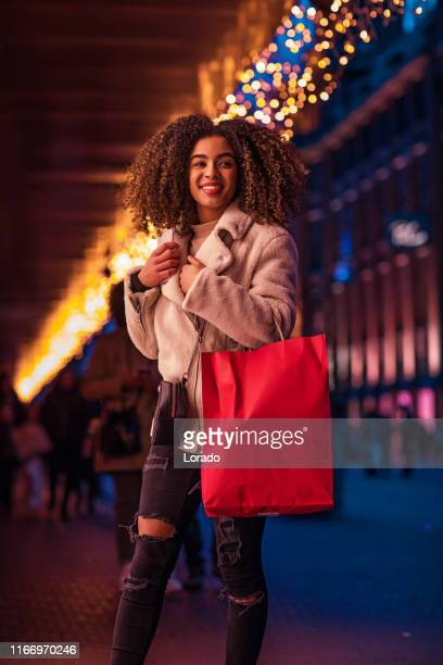 beautiful teenager at christmas shopping - hague market stock pictures, royalty-free photos & images