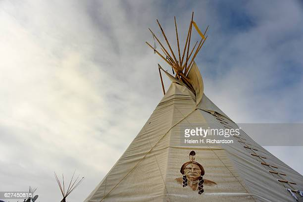 A beautiful teepees set against the clearing skies at Oceti Sakowin Camp on the edge of the Standing Rock Sioux Reservation on December 1 2016...