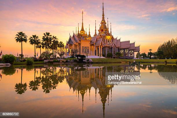 A beautiful temple in reflection in twilight  , Nakorn ratchasrima , Thailand