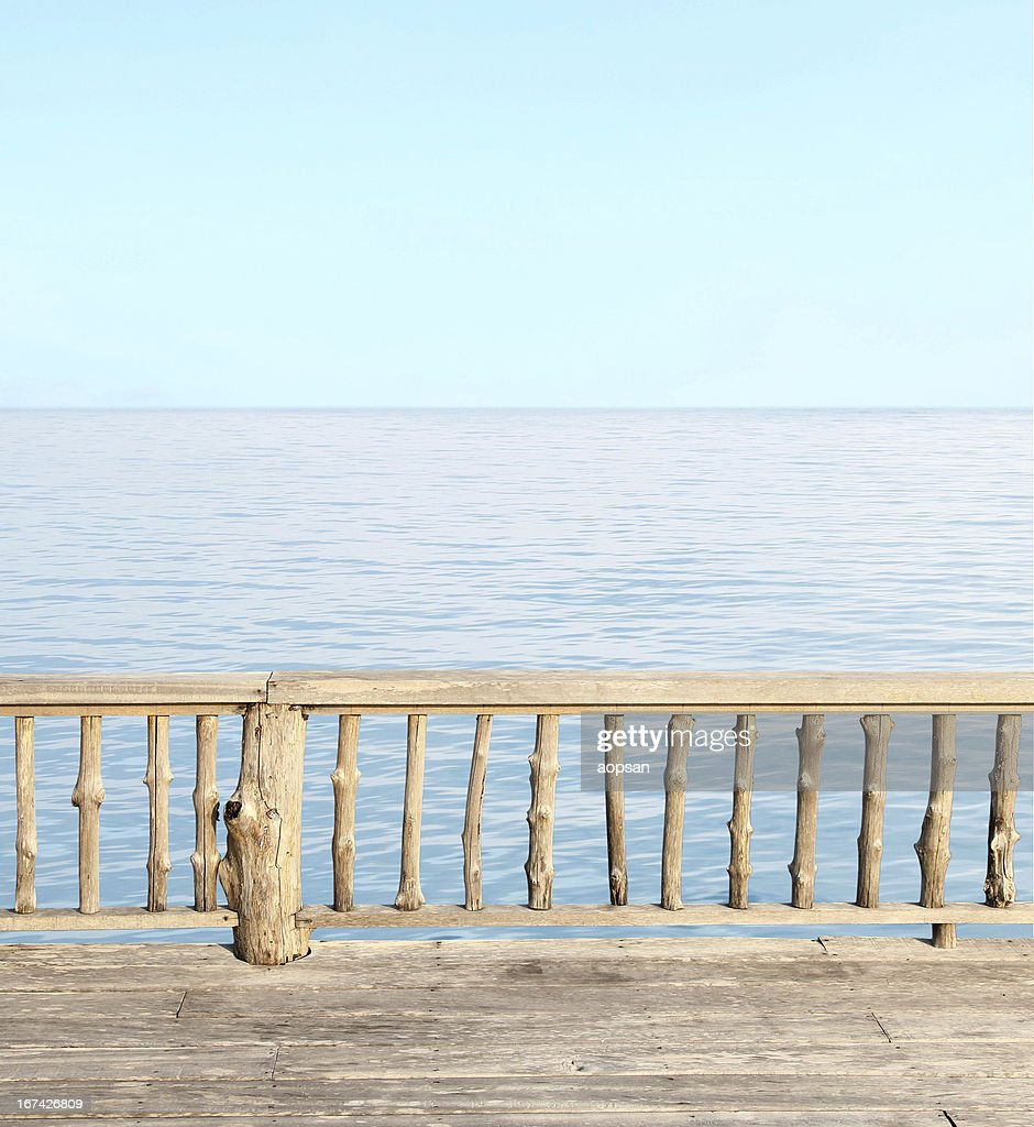 Beautiful terrace view of seaside at the resort : Stock Photo