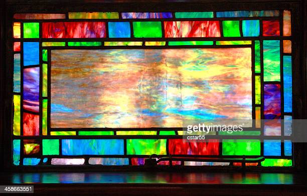 beautiful tiffany stained glass window - stained glass stock photos and pictures