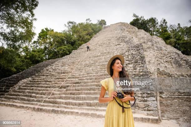 Beautiful tourist woman.