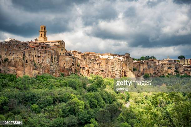 beautiful town in tuscany, pitigliano. province of grosseto. - grosseto province stock photos and pictures