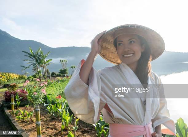Beautiful traditional woman in Bali