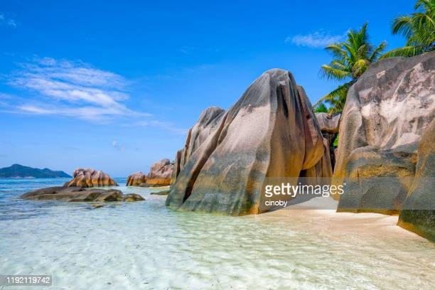 beautiful tropical beach anse source d´argent with sculpted granite rocks and palm trees - island of la digue, seychelles, indian ocean islands. - la digue island stock pictures, royalty-free photos & images
