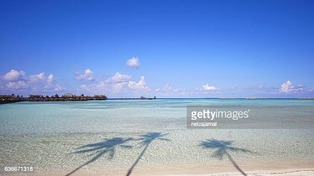 Beautiful tropical Mabul island with white sandy beach and sea