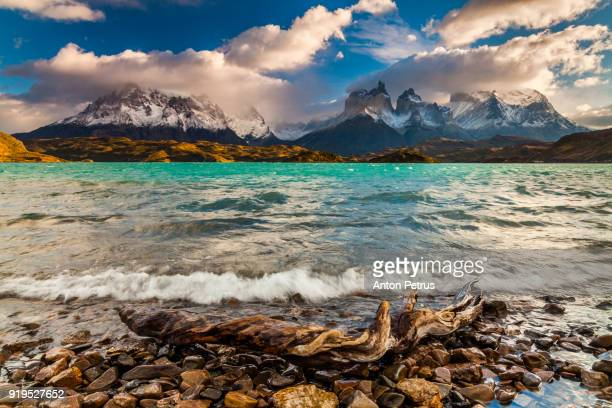 Beautiful turquoise lake Pehoe Torres del Paine, Chile