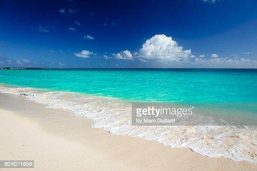 Pink Sand Beach Antigua Caribbean Stock Photo