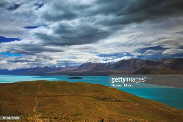 Beautiful turquoises color of Lake Tekapo, New Zealand.