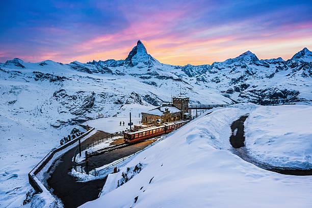 Beautiful Twilight At Gornergrat, Switzerland Wall Art