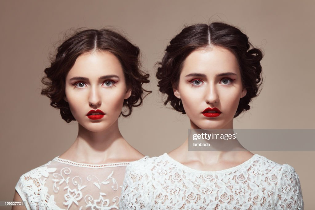 Beautiful twins : Stock Photo