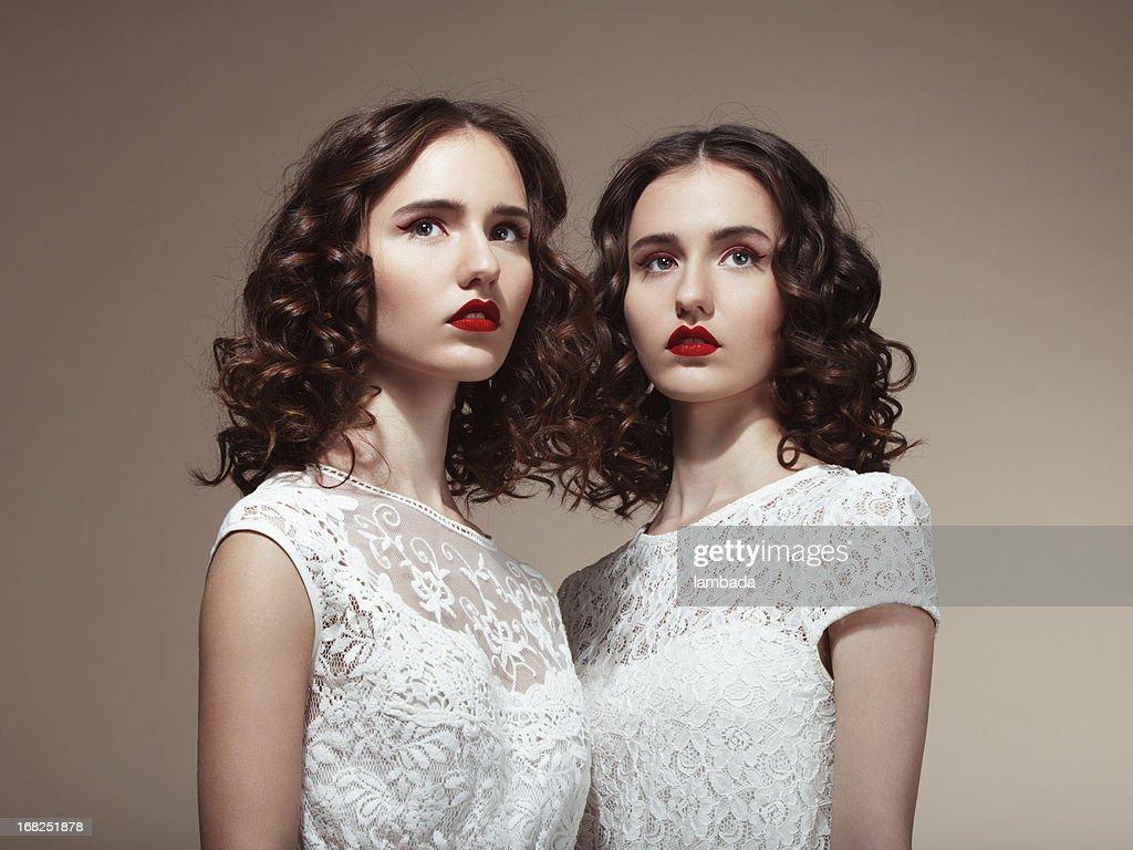 Beautiful twins : Stock Photo