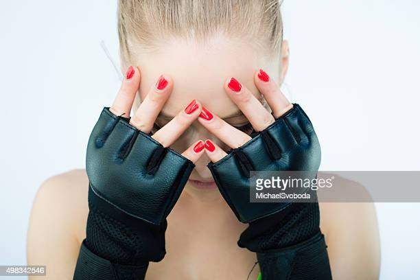 Beautiful UFC Women Fighter Posing With Her Gloves On