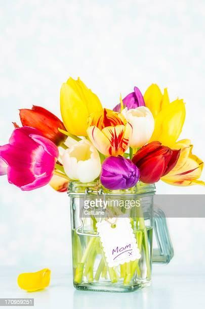Beautiful Vibrant Tulips in Jar