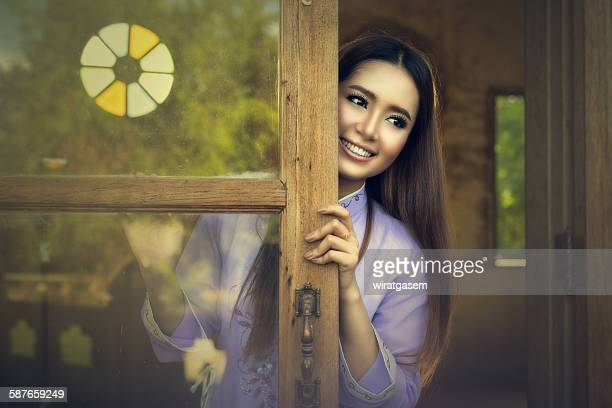 beautiful vietnamese girl with traditional dress - wiratgasem stock photos and pictures
