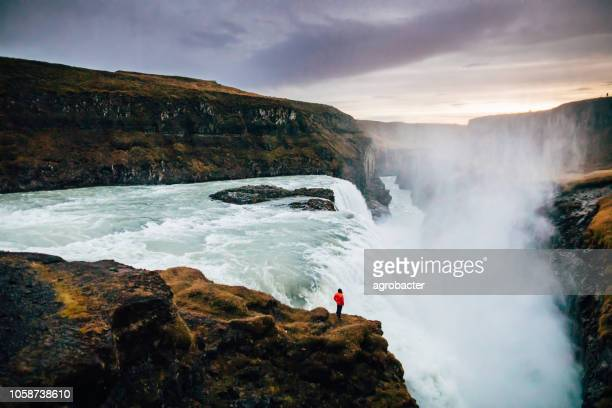 beautiful view at icelandic gullfoss waterfall - dramatic landscape stock pictures, royalty-free photos & images