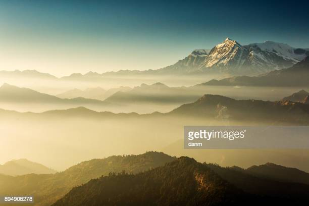 Beautiful view at Poon Hill with Dhaulagiri Peaks in background at sunset. Himalaya Mountains, Nepal.