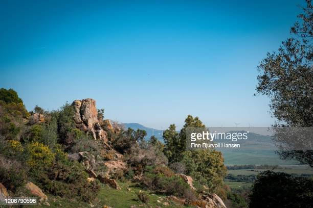 beautiful view from pena in tarifa, wind turbines in the background - finn bjurvoll stock pictures, royalty-free photos & images