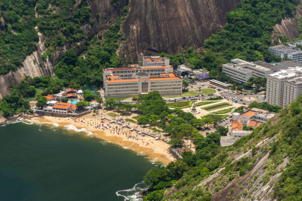 Beautiful view from Sugar Loaf Mountain to green rainforest and beach
