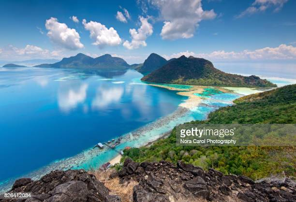 beautiful view from the top of bohey dulang island - kota kinabalu stock pictures, royalty-free photos & images