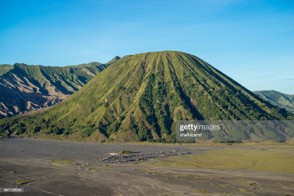 Beautiful view landscape of active volcano crater  at Mt. Bromo, East Java, Indonesia. : Stock Photo