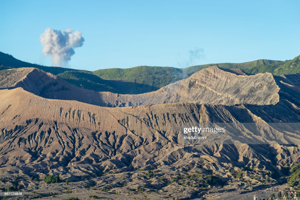 Beautiful view landscape of active volcano crater with smoke at Mt. Bromo, East Java, Indonesia. : Stock Photo