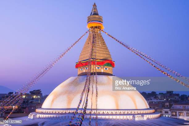beautiful view of boudhanath stupa the largest stupas in the world located in kathmandu the capital city of nepal at night. - 仏陀の目 ストックフォトと画像