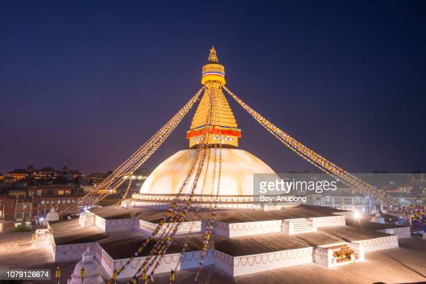 beautiful view of boudhanath stupa the largest stupas in the world located in kathmandu the capital city of nepal at night. - kathmandu stock pictures, royalty-free photos & images