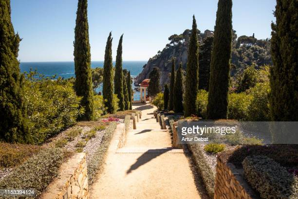 beautiful view of he costa brava with garden, sea and cliffs. - catalonia stock pictures, royalty-free photos & images