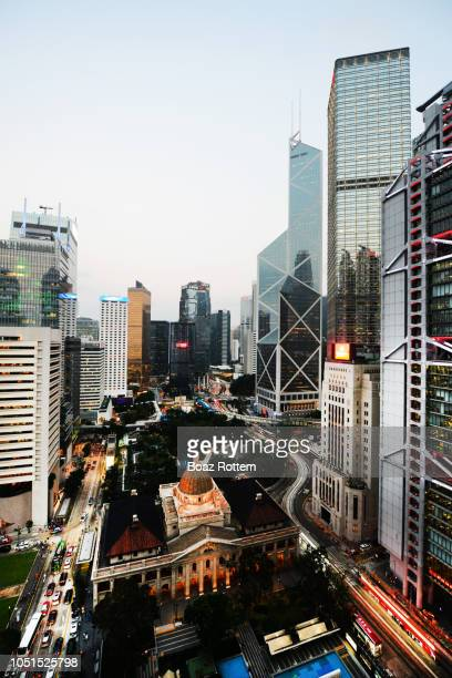 a beautiful view of hong kong's banking center. - hong kong stock pictures, royalty-free photos & images