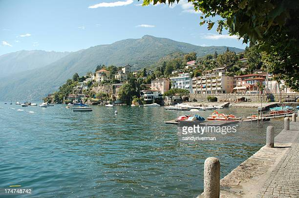 beautiful view of lago maggiore - ascona stock photos and pictures