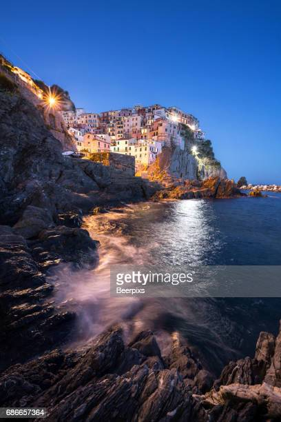 Beautiful view of Manarola at night in Cinque Terre, Italy.