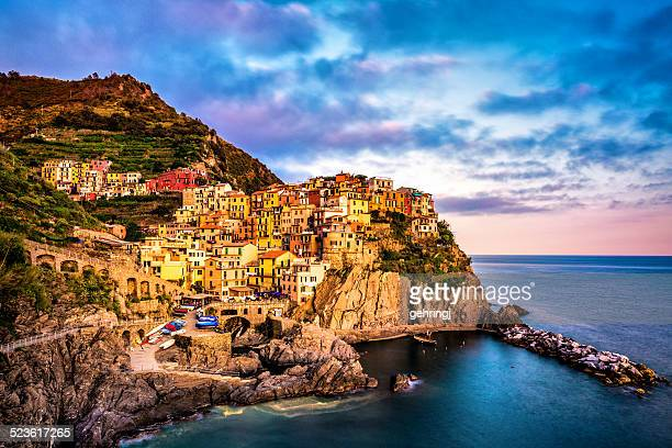 Beautiful view of Manarola in late afternoon light.