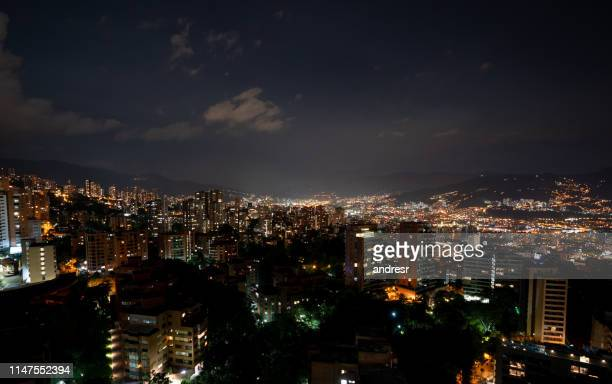 beautiful view of medellin, colombia at nighttime - medellin colombia stock pictures, royalty-free photos & images
