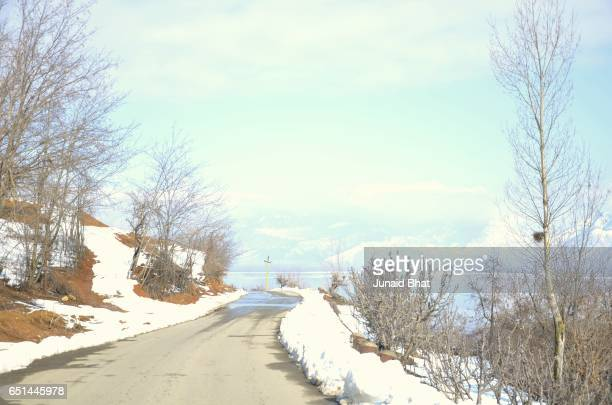 beautiful view of north kashmir baramulla and bandipora in winter - kashmir valley stock photos and pictures