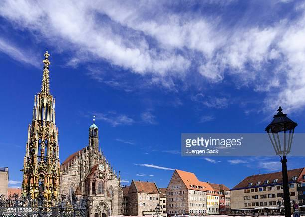 a beautiful view of nuremberg haultmarkt - nuremberg stock pictures, royalty-free photos & images
