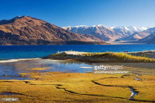 beautiful view of pangong lake. - paisajes de india fotografías e imágenes de stock